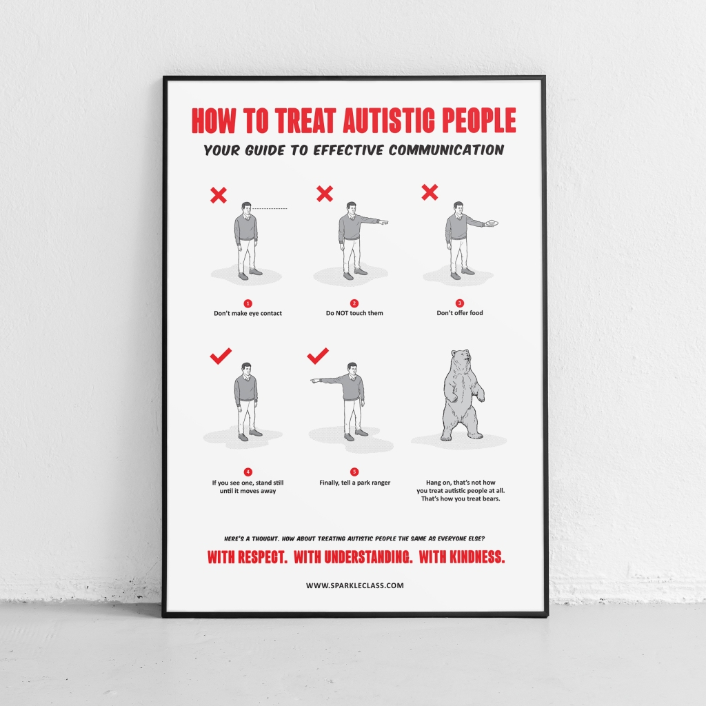 How to treat autistic people - a poster with words and illustration.